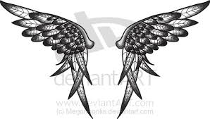 feminine tribal wings tattoos