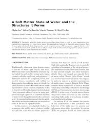 a soft matter state of water and the pdf download available
