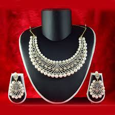 diamond pearl necklace set images Fashion statement american diamond necklace set with a pearl drop jpeg