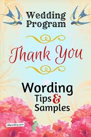 wedding programs wording wedding program thank you wording allwording