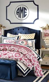 Monogrammed Comforters Eliza Tufted Bed Full Linen Blend White Bedrooms Navy And Gold