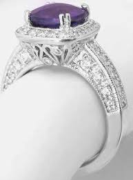 amethyst rings vintage images Amethyst cushion cut and diamond ring with halo setting and jpg