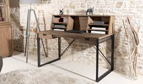 bureau design industriel bureau en teck et métal style industriel meuble bois massif