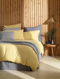relaxed denim yellow duvet cover