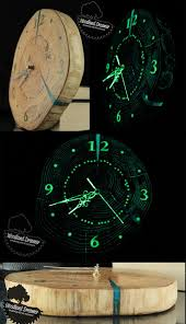 wooden clock from slice of wood glow in the dark resin