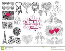 valentine u0027s day theme doodle zentangle design elements set happy
