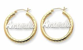 name plate earrings 14kt two tone gold name plate hoop earrings with script lettering