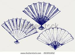 japanese folding fan japanese folding fan doodle style stock vector 263051852