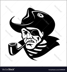angry pirate with pipe portrait pirate royalty free vector
