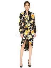 yellow shift dress women u0027s round neck flared long sleeve short