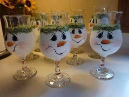 diy snowmen glass painted glassware snowman glass