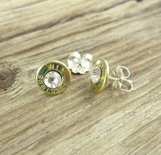 nickel earrings bullet stud earrings brass and nickel the well armed woman