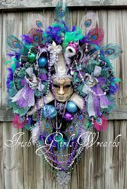large mardi gras mask peacock mardi gras wreath masquerade jester wreath venetian