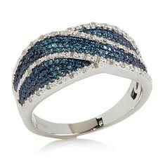 ribbon ring 0 19ctw blue white diamond sterling silver ribbon ring