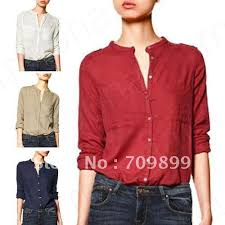 button blouses fashion collarless button sleeve shirt tops blouse