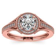 what is milgrain vintage milgrain halo diamond engagement ring in gold