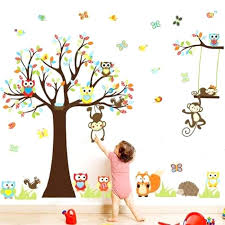 stickers arbre chambre fille sticker chambre enfant stickers sticker mural hibou singe