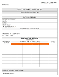 calibration report template daily calibration report