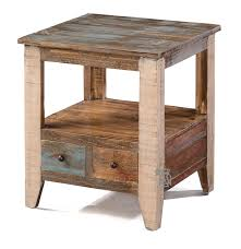 rustic wedge end table furniture leick chairside l table with drawer medium oak wedge