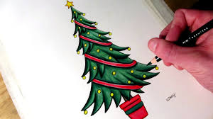 how to draw a christmas tree youtube