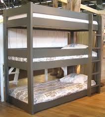More Bunk Beds Gray Wooden Bunk Bed With Bed Placed On The Brown Wooden
