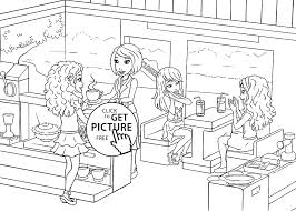 cafe coloring page for kids printable free lego friends and