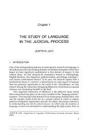 the study of language in the judicial process springer