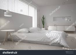 Minimal Bedroom White Minimal Bedroom 3d Illustration Stock Illustration 486478414