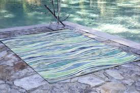 ebern designs bernadine wave aqua blue green white area rug
