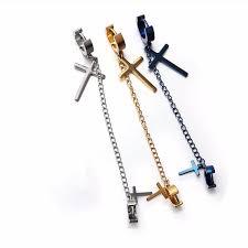 cool dangle earrings chain earrings cross pendant dangle earrings woman