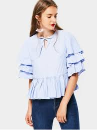 bow tie blouse tiered sleeve bow tie blouse light blue blouses l zaful