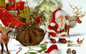download wallpaper 3840x2400 santa claus reindeer sleigh bag