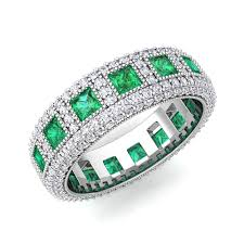emerald bands rings images My love princess cut diamond and emerald eternity band in 18k gold jpg