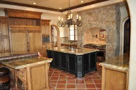 admirable spanish style kitchen with glossy backsplash and wood