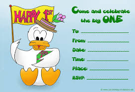 Date Invitation Card Cute Duck Happy Birthday Invitation Cards Modern Ideas Rectangular