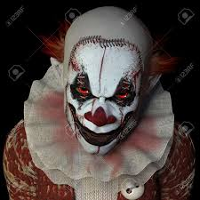 halloween horror nights clown scary clown glaring at you isolated on a black background stock