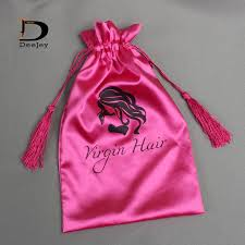 pink gift bags stock hair packaging polyester satin gift bags 18x30cm white hot