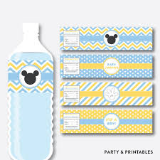 baby mickey water bottle labels non personalized instant