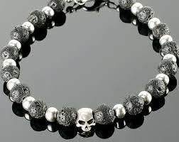 black bead skull bracelet images Mens skull skull bracelets for men with black gemstones jpg