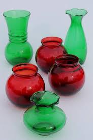 Ruby Vases Vintage Anchor Hocking Glass Christmas Vases Ruby Red U0026 Forest
