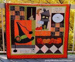 halloween table quilt pink polka dot creations