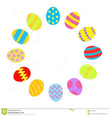 colored easter egg set round frame on white background template