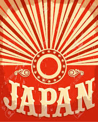 Hapanese Flag Japan Vintage Old Poster With Japanese Flag Colors Vector Design
