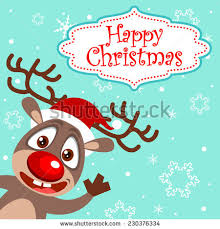 singing reindeer two reindeer singing christmas stock vector