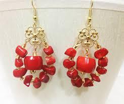 Red Chandelier Earrings Earrings Hautecorals