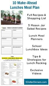 lunch box planner template 31 days of school lunchbox ideas