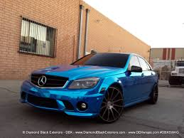 chrome benz mercedes benz c63 wrapped in avery blue chrome by dbx diamond