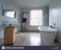 freestanding bath and movable storage unit with basin in modern