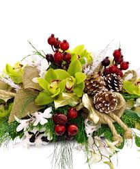 winter centerpiece christmas flower arrangement in rowland heights
