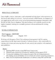 Resume Format For Web Designer Sample Php Developer Resume Developer Resume Example Best Sample